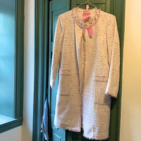 Kate Spade size 4 Pink Tweed and Fringe Long Coat